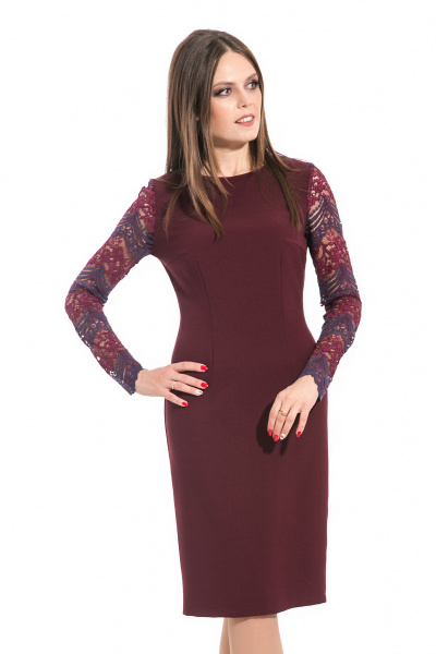 Платье с рукавами из гипюра, П-522/2